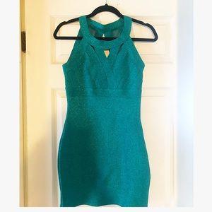 Sparkly Teal Mini Dress